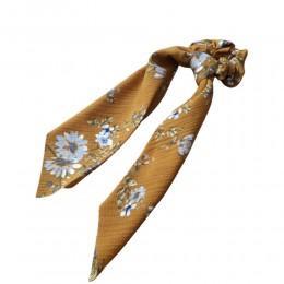 Gumka do włosów apaszka długa brązowa w kwiaty / apaszka do włosów