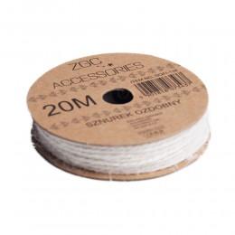 Naturalny biały sznurek ozdobny na szpulce 20M / sznurek do dekoracji