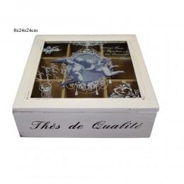 Biała drewniana skrzyneczka z przegródkami pudełko drewniane RETRO ANIOŁKI