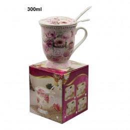 Ceramiczny kubek zaparzacz 300 ml z łyżeczką i pokrywką RÓŻOWE KWIATY