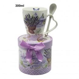 Ceramiczny kubek z łyżeczką w pudełku na prezent dla Mamy Taty LAWENDA