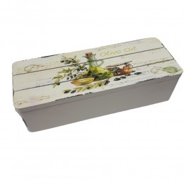 Drewniana skrzynka z 3 przegródkami na drobiazgi herbatę OLIVE OIL