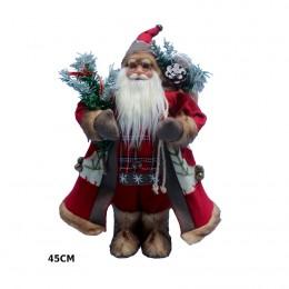 Ozdoba świąteczna figurka Świętego Mikołaja z prezentami 45 cm / Mikołaj figurka