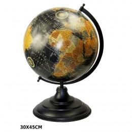 Duży globus dekoracyjny czarny mapa świata dekoracja na biuro