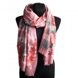 Szykowny duży szal damski jesienny różowy w kwiaty