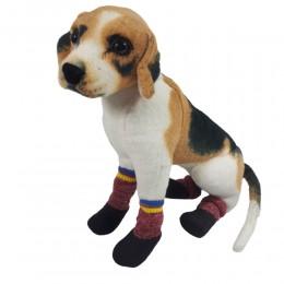 Ciepłe buty dla psa na zime z gumową podeszwą BORDOWE 4 sztuki