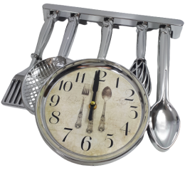 Srebrny zegar ścienny do kuchni SZTUĆCE / zegar kuchenny wiszący ŁYŻKA