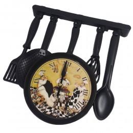 Czarny zegar ścienny do kuchni SZTUĆCE / zegar kuchenny wiszący ŁYŻKA