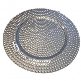 Podtalerz na stół podkładka pod TALERZ / okrągła patera srebrna 33 cm