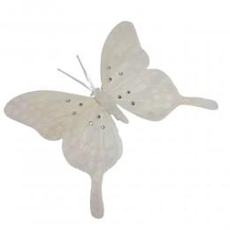 Duży motylek motyl ozdobny z klipsem BIAŁY Z BROKATEM