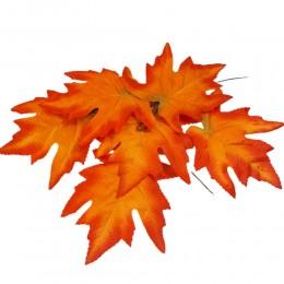 Jesienne sztuczne liście do dekoracji / sztuczny liść czerwony 6 sztuk