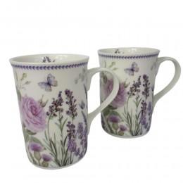 Zestaw 2 kubków do kawy herbaty na prezent motyw lawenda
