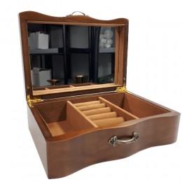 Drewniana szkatułka na biżuterię pojemna z lustrem na prezent