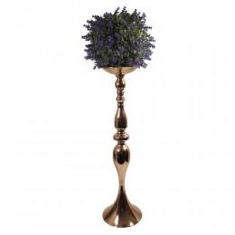 Duży złoty świecznik metalowy wys. 64 cm / stojak na kwiaty