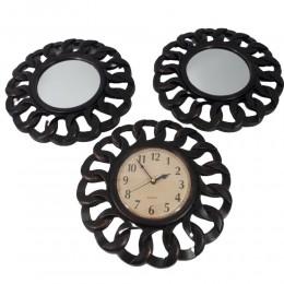 Dekoracja ścienna czarny zegar ścienny retro z dwoma lustrami
