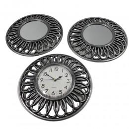 Zestaw na prezent srebrny zegar wiszący postarzany z dwoma lustrami