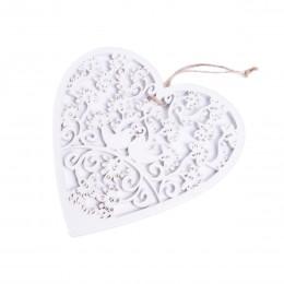 Zawieszka duże białe drewniane serce ażurowe do dekoracji