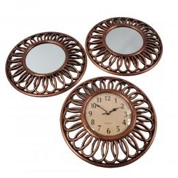 Zestaw na prezent zegar wiszący postarzany z dwoma lustrami retro