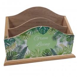 Stylowy listownik drewniany pojemnik organizer na biurko LIŚĆIE