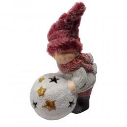 Figurka LED chłopiec z kulą śniegową dekoracja bożonarodzeniowa