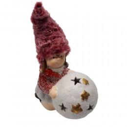 Figurka LED dziewczynka z kulą śniegową dekoracja bożonarodzeniowa