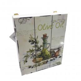 Biała drewniana skrzyneczka na klucze OLIVE OIL 16x20cm