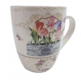 Biały ceramiczny kubek na kawę herbatę 400 ml TULIPANY tulip