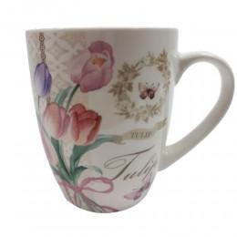 Biały ceramiczny kubek na kawę herbatę 400 ml TULIPANY bukiet