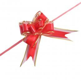 Czerwono-złote wstążki ściągane w kokardy do dekoracji weselnych 10szt