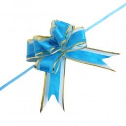 Dekoracyjne wstążki ściągane w kokardy niebiesko-złote 10 sztuk