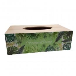 Pudełko na chusteczki LIŚCIE MONSTERA / chustecznik drewniany