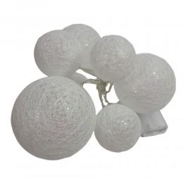 Białe perełkowe Cotton Ball Lights świecące lampki kule LED 8 sztuk