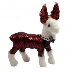 Ozdoba świąteczna figurka renifer cekiny dekoracja na Boże Narodzenie