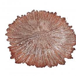 Szklany podtalerz / podstawka szklana pod talerz różowa KONAR PIEŃ