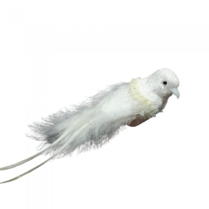 Dekoracyjny biały ptaszek na klipsie z piórkami 15 cm na ślub choinkę