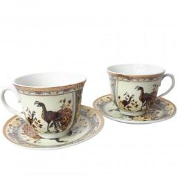 Zestaw kawowy dla dwojga 2+2 filiżanki talerzyki PAW BRĄZOWY