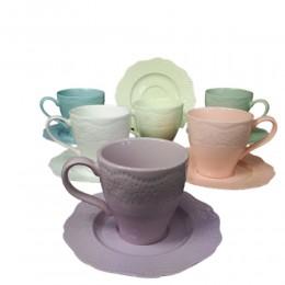 Kolorowy zestaw filiżanek do kawy herbaty na 6 osób KORONKA