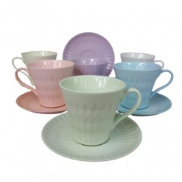 Kolorowe filiżanki do kawy i herbaty na 6 osób ROMB