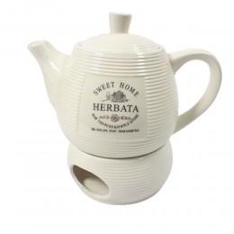 Dzbanek czajnik z podgrzewaczem do parzenia herbaty SWEET HOME PASKI