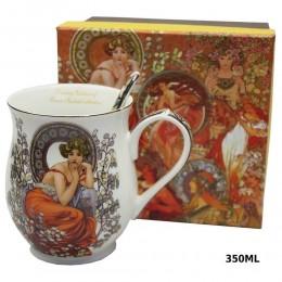 Zestaw prezentowy ceramiczny kubek z łyżeczką QUEEN ISABELL DAMA