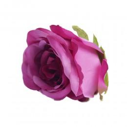 Róża główka wyrobowa fioletowa 8cm / sztuczne kwiaty róże główki