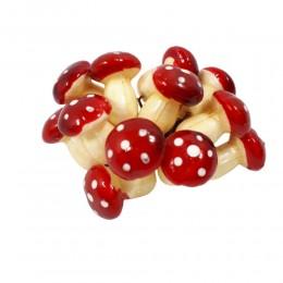 MUCHOMORKI sztuczne grzyby / grzybki na druciku do dekoracji 12sztuk