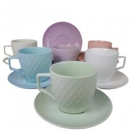 Kolorowe filiżanki do kawy i herbaty na 6 osób KRATKA
