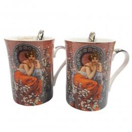 Zestaw 2 kubków do kawy z łyżeczkami QUEEN ISABELL DAMA