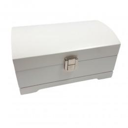 Mała biała drewniana szkatułka na biżuterię z lusterkiem / kuferek
