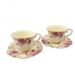 Ekskluzywny złocony serwis do kawy herbaty dla dwojga RÓŻA HERBACIANA