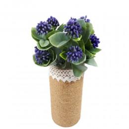 Sztuczna gałązka z jagodami 30cm / sztuczne kwiaty fioletowe kuleczki