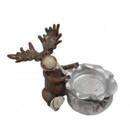 Świecznik świąteczny tealight figurka RENIFER workiem prezentów