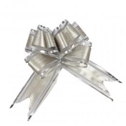Srebrne wstążki ściągane w kokardy do dekoracji weselnych 10 szt