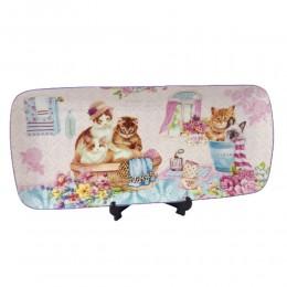 Długi półmisek patera KOT KOTY / prostokątny talerz z motywem kotów